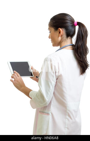 Smiling female doctor with stethoscope and tablet pc computer. Healthcare, medicine and technology concept. - Stock Photo