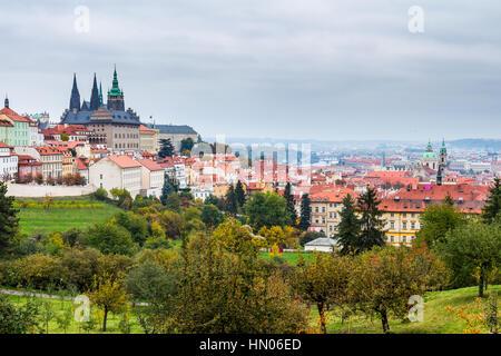 Prague at sunset, panoramic view, image of Prague, capital city of Czech Republic - Stock Photo