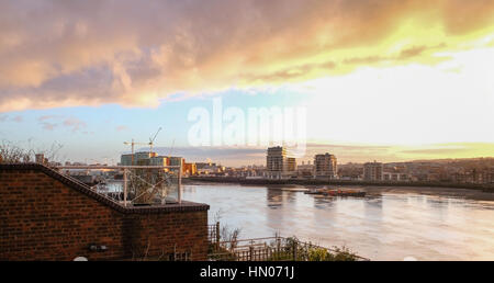 Greenwich view of river Thames, early morning winter shot of south side of the river taken from Isle of Dogs.  Beautiful - Stock Photo