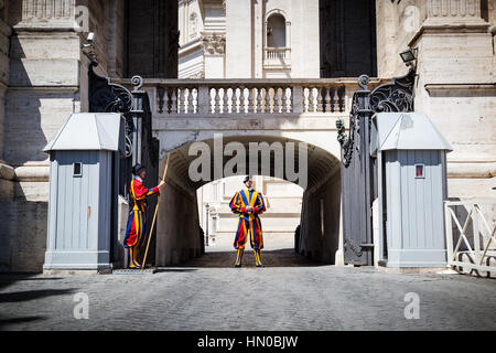 Two Swiss Guards on duty at the Vatican in Rome, Italy. - Stock Photo