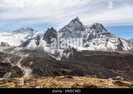 Amphu Gyabjen peak (5630m) view from the Chukung valley near the village of Dingboche on the way to the Everest - Stock Photo