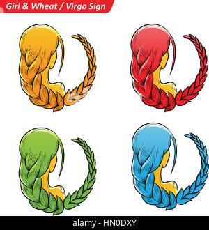 Vector Illustration of Colorful Virgo Astrological Zodiac Star Signs Sketch - Stock Photo