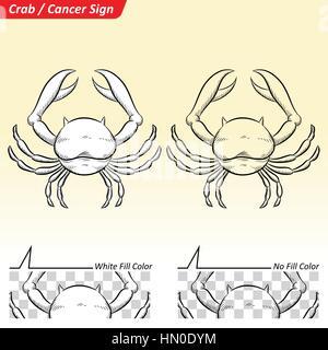 Vector Illustration of Cancer Astrological Zodiac Star Sign Sketch - Stock Photo
