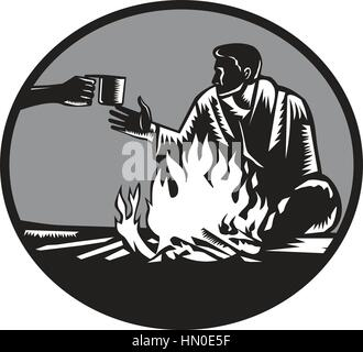 Illustration of camper with a sleeping bag wrapped around his shoulders, holding on tight, sitting in front of a - Stock Photo