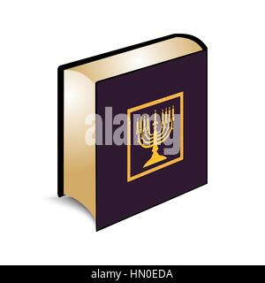 Vector illustration Jewish Holy scripture the Torah, on a book cover Menorah, Hanukkah of gold color. - Stock Photo