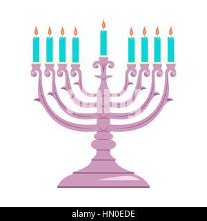 Hanukkah menorah outline greeting card, template, banner. Minimal vector illustration. Flat design - Stock Photo