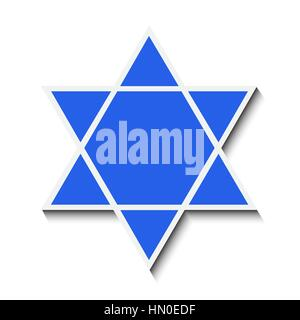 Star of David with a shadow. Isolated on white background. Vector illustration - Stock Photo