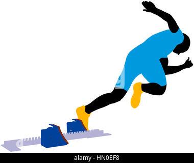 start athlete men sprinter runner from starting blocks - Stock Photo