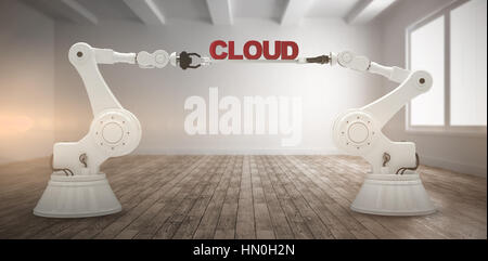 Computer generated image of mechanical robotic hands holding cloud text against empty white room - Stock Photo