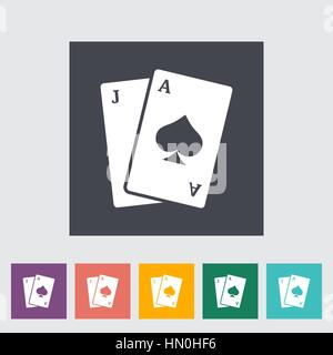 Blackjack. Single flat icon on the button. Vector illustration. - Stock Photo