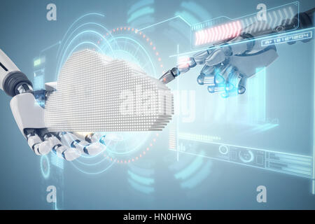 Composite image of cloud against digitally generated image of volume knob with graphical data - Stock Photo