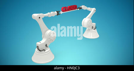 Robotic hands holding red data text against white background against blue vignette background - Stock Photo