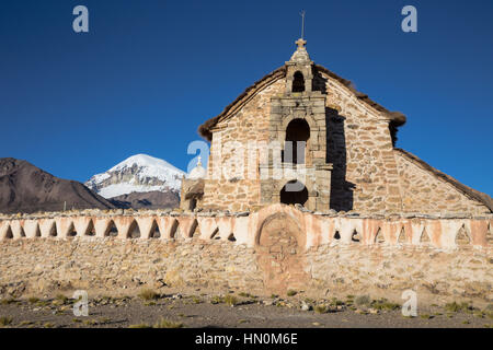 Church in the Sajama National Park, Bolivia. Sajama National Park is a national park located in the Oruro Department, - Stock Photo