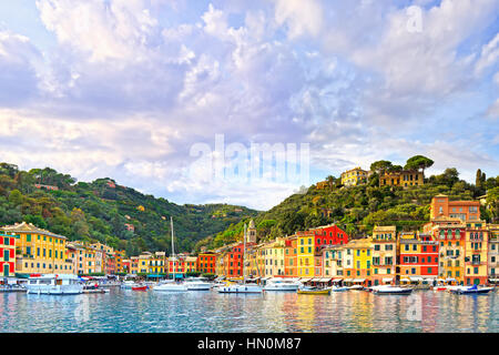 Portofino luxury landmark panorama. Village and yacht in little bay harbor. Liguria, Italy - Stock Photo