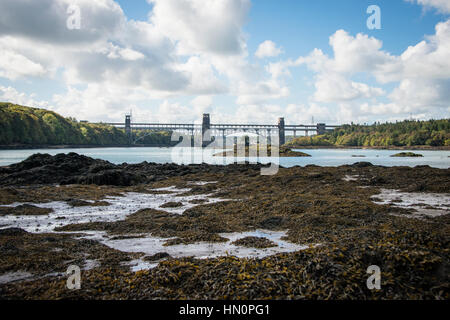 The Britannia Bridge connecting Anglesey to mainland Wales in the UK - Stock Photo