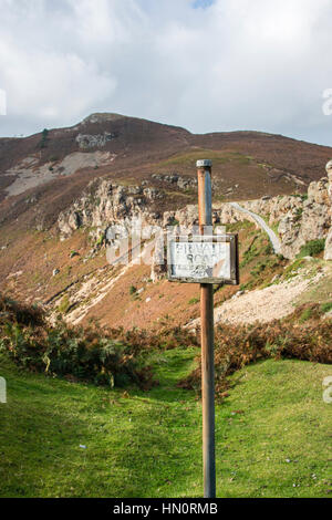 A private road sign on a mountain in North Wales, UK - Stock Photo