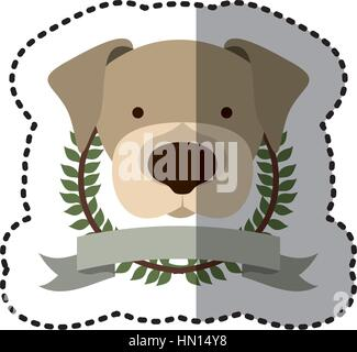 sticker crown leaves and label with beagle dog animal vector illustration - Stock Photo