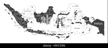 Indonesia Map labelled black illustration - Stock Photo