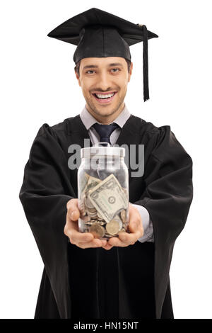 Happy graduate student with a jar filled with money isolated on white background - Stock Photo