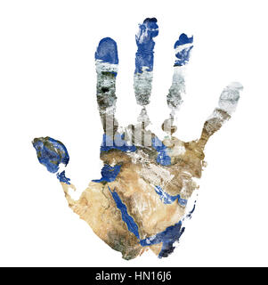 Real hand print combined with a map of The Middle East isolated on white background. Elements of this image furnished - Stock Photo