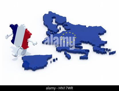 map of France with arms and legs that runs away from Europe, 3d illustration - Stock Photo