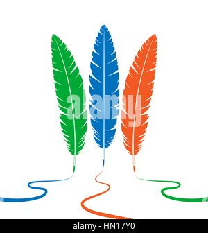 Three colored feathers - Stock Photo