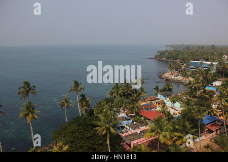 sea from above. View of Kollam beach in Kerala from above. - Stock Photo