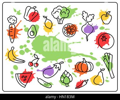 Healthy Food Vegetables and Fruits Bright Blots Icons Isolated o - Stock Photo