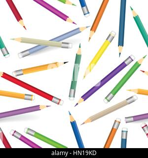 Colorful pencils pattern. Seamless texture with multicolored pencils. Kid art lab tiled background - Stock Photo