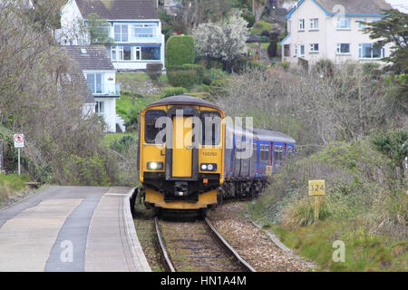 First Great Western Class 150 150263 Multiple Unit from St Ives to St Erth arrving at Carbis Bay Station in Cornwall - Stock Photo