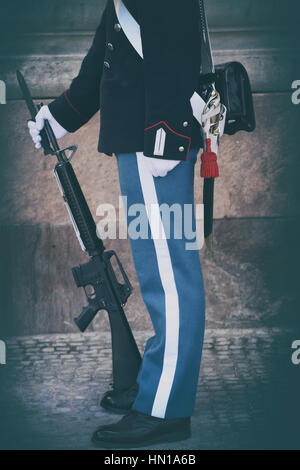 Danish Royal Life Guard on the central plaza of Amalienborg palace, home of the Danish Royal family in Copenhagen, - Stock Photo