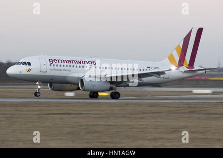 D-AGWY Germanwings Airbus A319-132 landing at EDDS Stuttgart - Stock Photo