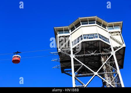 Torre Sant Sebastiá, Port of Barcelona cable car, at Port Vell, Barcelona, Catalonia, Spain - Stock Photo