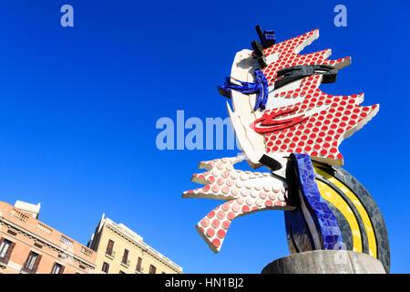 Cap de Barcelona, sculpture by Roy Lichtenstein, Barcelona, Catalonia, Spain, - Stock Photo