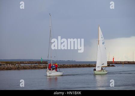 TALLINN, ESTONIA - 05 SEP 2015: Yachts competition in Tallinn Olympic center - Stock Photo