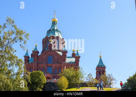 HELSINKI, FINLAND - 16 AUGUST 2015. Uspenski Cathedral On Hill At Summer Sunny Day. Red Church - Tourist destination - Stock Photo