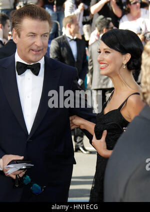Alec Baldwin and Hilaria Thomas arrive at the opening night premiere of 'Moonrise Kingdom' at the 65th Cannes Film - Stock Photo