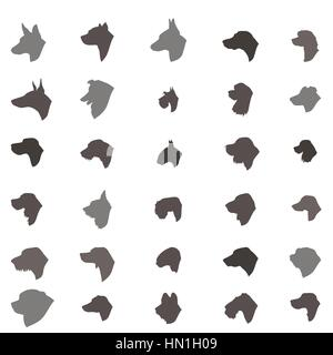 Dog head silhouette icon set. Dog breed set. Different dos breed vector collection Domestic animal  isolated illustration - Stock Photo