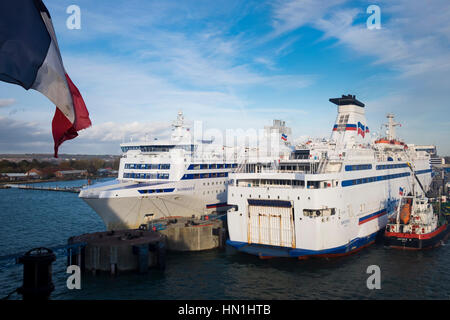 Brittany Ferries boats Bretange and Normandie tied up in Portsmouth Harbour - Stock Photo
