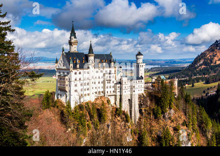Neuschwanstein Castle the famous castle in Germany located in Fussen, Bavaria, Germany - Stock Photo