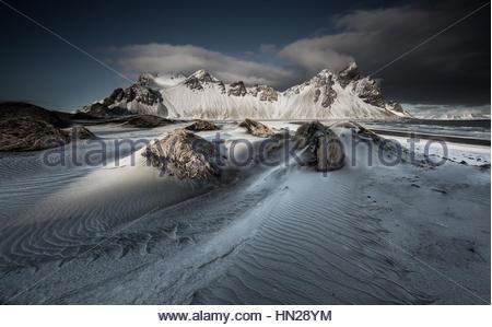 Vestrahorn mountain in Stokksnes, Iceland during sunset. - Stock Photo
