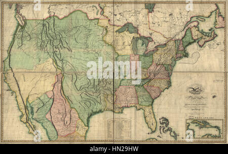 Map of the United States of America- With the Contiguous British and Spanish Possessions, 1816 WDL9561 - Stock Photo