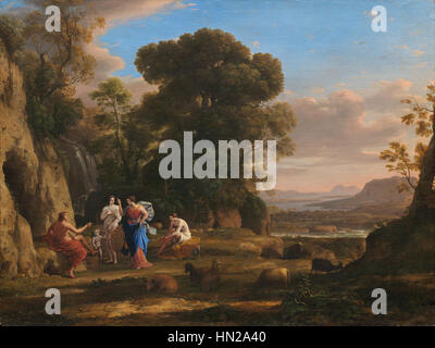 Claude Lorrain (1600 - 1682), The Judgment of Paris, 1645-1646, oil on canvas. National Gallery of Art, Washingto - Stock Photo