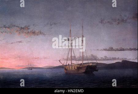 Lumber Schooners at Evening on Penobscot Bay 1860 Fitz Hugh Lane - Stock Photo