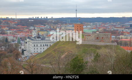 VILNIUS, LITHUANIA: View of Vilnius from the Hill of Three Crosses with the Old Castle on Gediminas Hill in the - Stock Photo