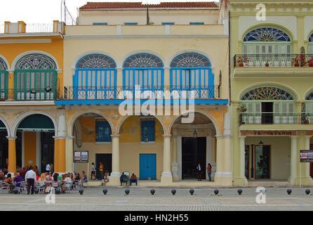 Facade of Casa del Conde de Lombillo in Plaza Vieja, Havana, Cuba - Stock Photo