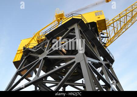 Industrial haulage marine shipping crane on the dockside in Vancouver Canada - Stock Photo