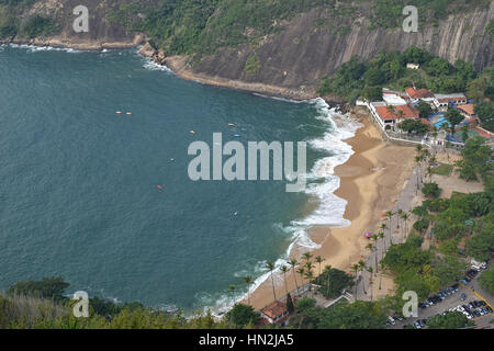 Rio de Janeiro, Brazil. 10 June 2016. Aerial view of Praia Vermelha from the sugar loaf. Kayekers enjoy the morning - Stock Photo
