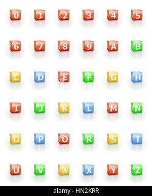 Numbers 1 - 0, letters A - Z on cubic blocks. - Stock Photo