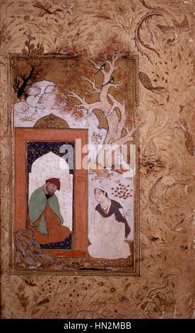 Persian miniature. Seferid school.  Young man visiting a dervish Persian school 17th century Paris, Musee Guimet - Stock Photo